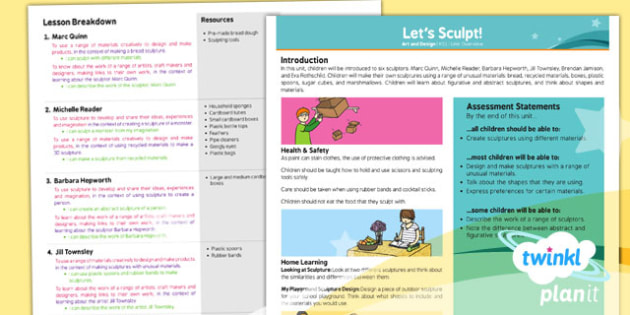 PlanIt - Art KS1 - Let's Sculpt Planning Overview - art, sculpture
