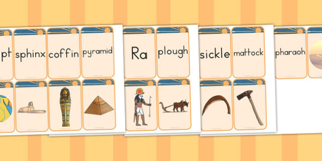 Ancient Egypt Matching Flashcards - australia, flashcards, egypt