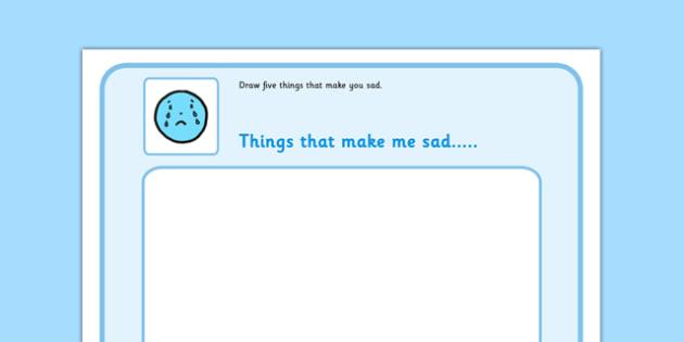 Draw 5 Things That Make You Sad - feelings, emotions, SEN