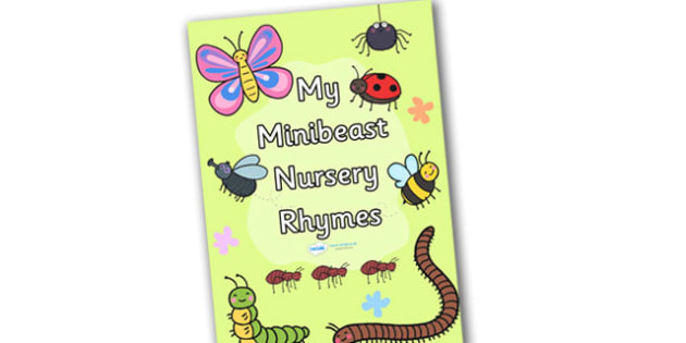 Minibeasts Nursery Rhyme Booklet Cover - book cover, booklet, booklet cover, book sleeve, minibeasts, insects, minibeast book cover, minibeast booklet cover, minibeast nursery rhymes book cover, minibeast themed book cover