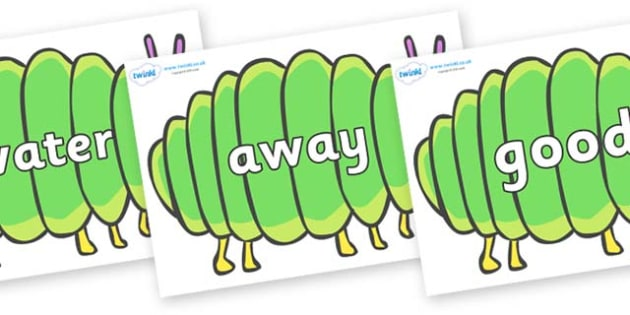 Next 200 Common Words on Fat Caterpillars to Support Teaching on The Very Hungry Caterpillar - Next 200 Common Words on  - DfES Letters and Sounds, Letters and Sounds, Letters and sounds words, Common words, 200 common words