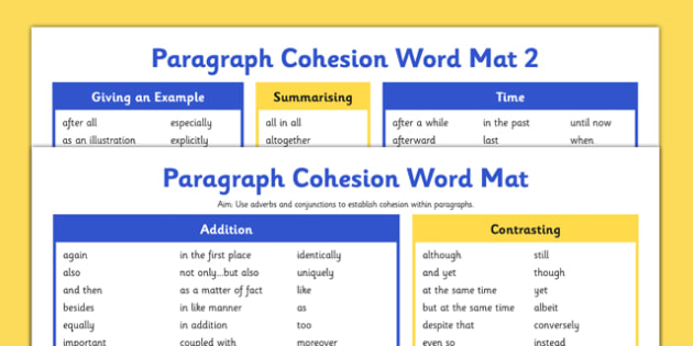 Paragraph Cohesion Conjunctions Adverbials Word Mats - Connectives