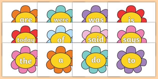 Year 1 Common Exception Words on Flowers - year 1, common exception words, flowers, display