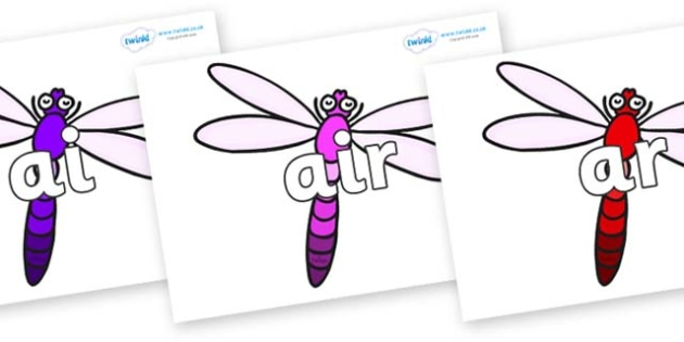 Phase 3 Phonemes on Dragonflies - Phonemes, phoneme, Phase 3, Phase three, Foundation, Literacy, Letters and Sounds, DfES, display