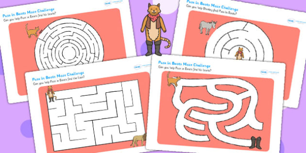 Puss in Boots Differentiated Maze Activity Sheet Pack - mazes, game, worksheet