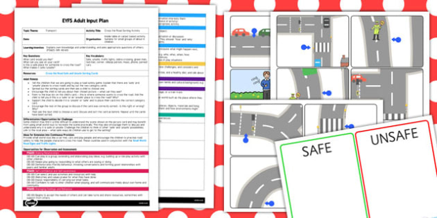 Cross the Road Sorting Activity EYFS Adult Input Plan and Resource Pack