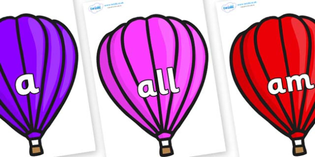 Foundation Stage 2 Keywords on Hot Air Balloons (Plain) - FS2, CLL, keywords, Communication language and literacy,  Display, Key words, high frequency words, foundation stage literacy, DfES Letters and Sounds, Letters and Sounds, spelling