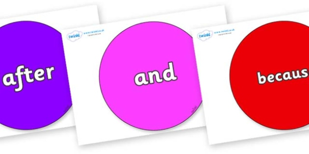 Connectives on Circles - Connectives, VCOP, connective resources, connectives display words, connective displays