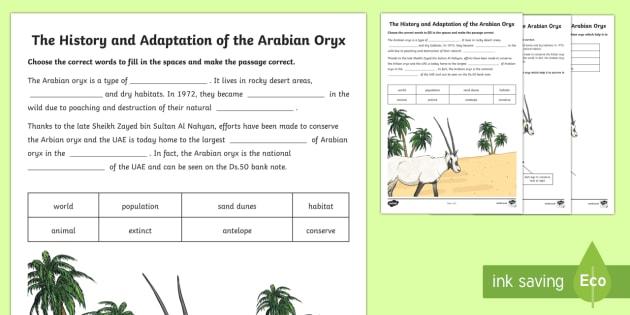 Arabian Oryx Activity Sheet - Science, Living World, animals, adaptation, Arabian, oryx, desert, worksheet, antelope