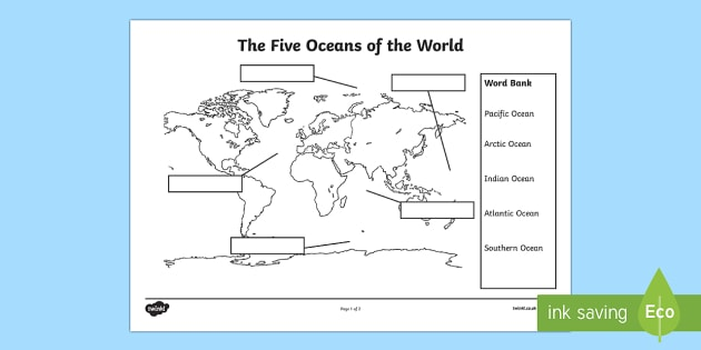 The Five Oceans Labelling Map Activity Sheet - The Arctic, Polar Regions, north pole, south pole, explorers, seas, continents, worksheet
