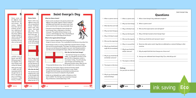 St George's Day Differentiated Reading Comprehension Activity - St George's Day, dragon, knight, England, Saint George's Day, Saint George, patron, english, event