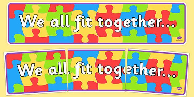 We All Fit Together Display Banner - transition, jigsaw, header