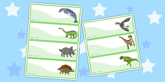 Realistic Dinosaurs Drawer Peg Name Labels - dinosaur, name label