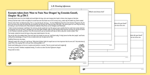 How to Train Your Dragon Inferences Activity Sheet - Dragon, worksheet