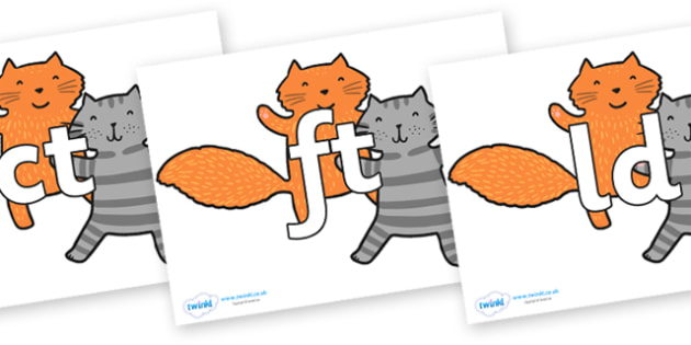 Final Letter Blends on Cats to Support Teaching on What the Ladybird Heard - Final Letters, final letter, letter blend, letter blends, consonant, consonants, digraph, trigraph, literacy, alphabet, letters, foundation stage literacy