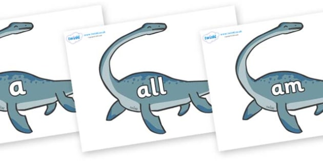 Foundation Stage 2 Keywords on Plesiosaur - FS2, CLL, keywords, Communication language and literacy,  Display, Key words, high frequency words, foundation stage literacy, DfES Letters and Sounds, Letters and Sounds, spelling
