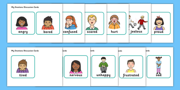 My Emotions Faces Discussion Cards - my emotions, how I feel, my emotions faces, discussion cards, discussion,  cards, flashcards, activity cards, classroom cards, card, activities