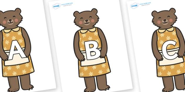 A-Z Alphabet on Mummy Bear - A-Z, A4, display, Alphabet frieze, Display letters, Letter posters, A-Z letters, Alphabet flashcards