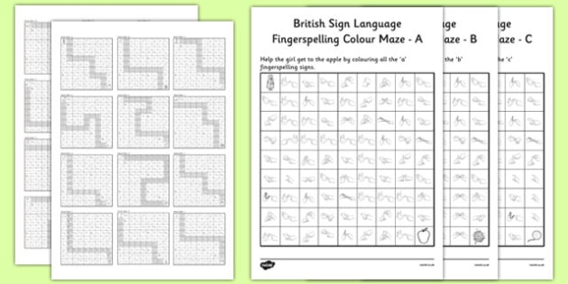 British Sign Language Left Hand Fingerspell Colour Maze Alphabet