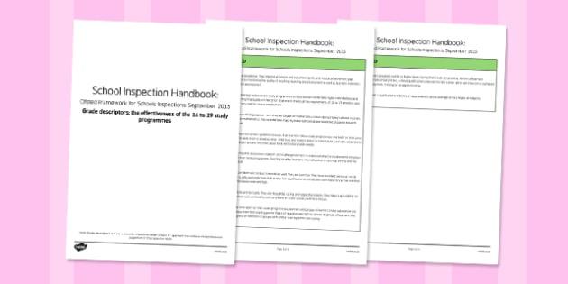 Grade Descriptors for The Effectiveness Of The 16 To 19 Study Programmes Descriptors Ofsted September 2015 - inspection, slt, assessment, progress, monitoring, college, KS5
