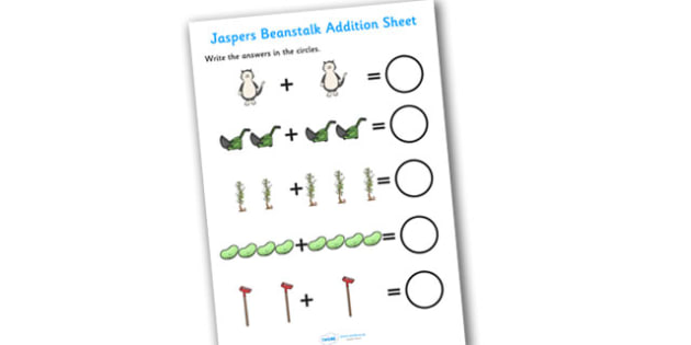 Addition Sheet to Support Teaching on Jasper's Beanstalk - jaspers beanstalk, addition sheet, addition, addition worksheet, jaspers beanstalk worksheet