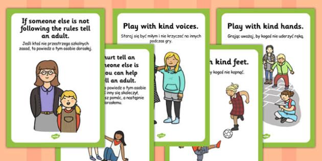 Playground Rules Posters Polish Translation - break time, playing, guide, information, KS1, KS2, visual aid, display