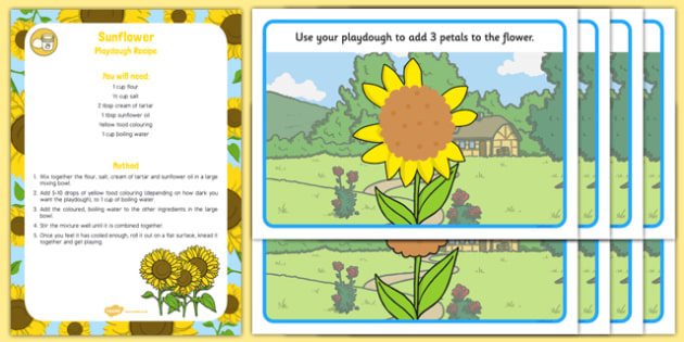 EYFS Sunflower Playdough Recipe and Mat Pack - EYFS, Early years, fine motor skills, physical development, malleable