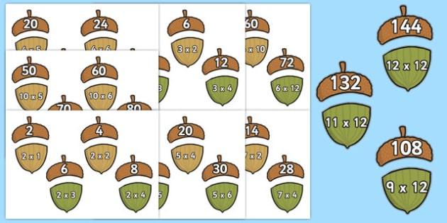Multiplication Acorn Matching Activity Pack - multiplication, acorn, matching, activity, pack