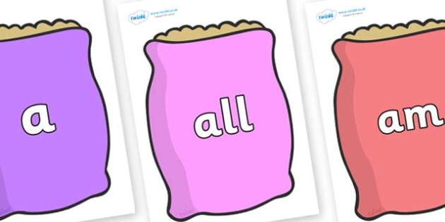 Foundation Stage 2 Keywords on Bags - FS2, CLL, keywords, Communication language and literacy,  Display, Key words, high frequency words, foundation stage literacy, DfES Letters and Sounds, Letters and Sounds, spelling
