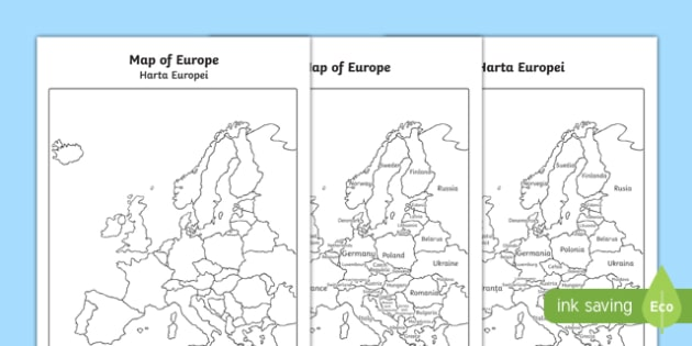 Map of Europe With and Without Names