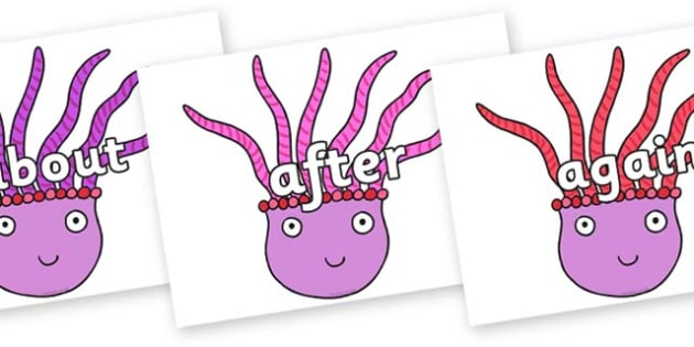 KS1 Keywords on Anemone to Support Teaching on Sharing a Shell - KS1, CLL, Communication language and literacy, Display, Key words, high frequency words, foundation stage literacy, DfES Letters and Sounds, Letters and Sounds, spelling