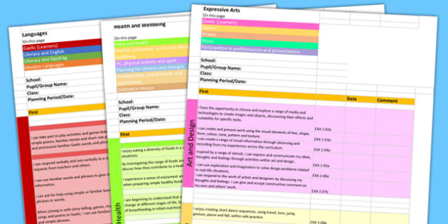 Scottish Curriculum for Excellence First Overview Planning Spreadsheet