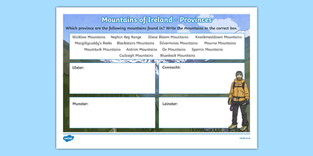 Mountains of Ireland, Provinces Activity Sheet-Irish, worksheet