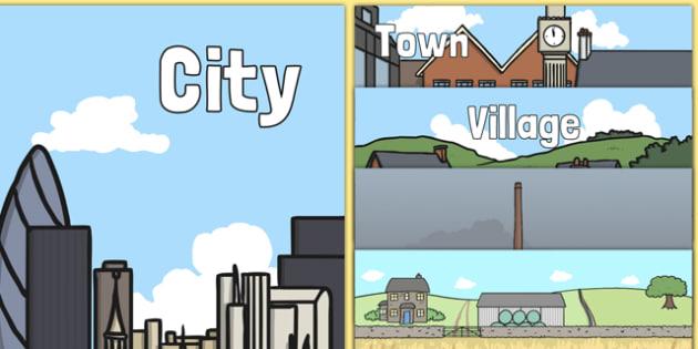 KS1 Human Geography Keyword Posters - ks1, geography, keyword, posters, display, human, year 1, year 2, towns, cities