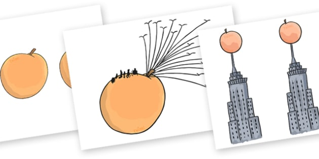 Story Cut Outs to Support Teaching on James and the Giant Peach - story cut outs, cut outs, james and the giant peach, story, story book, giant peach cut outs, giant peach