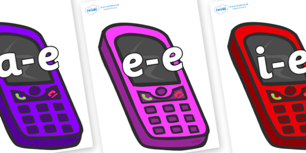 Modifying E Letters on Mobile Phones - Modifying E, letters, modify, Phase 5, Phase five, alternative spellings for phonemes, DfES letters and Sounds