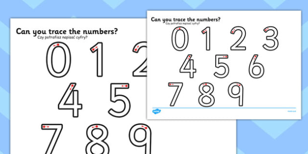 Number Formation Worksheet Polish Translation - Activity sheets, objectives, maths, national curriculum, 2014, KS1, Key stage 1