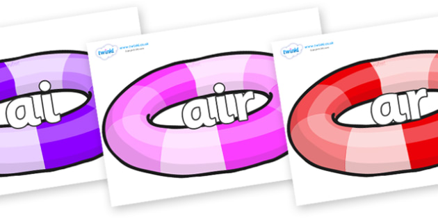 Phase 3 Phonemes on Inflatable Rings - Phonemes, phoneme, Phase 3, Phase three, Foundation, Literacy, Letters and Sounds, DfES, display