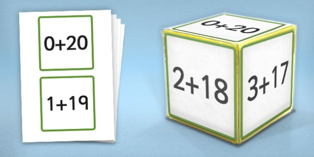 Giant Foam Dice Squares Addition to 20 - foam dice, squares, add