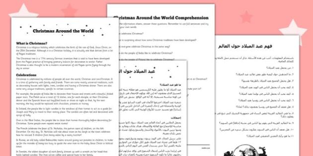 Christmas around the World Comprehension Sheet Arabic Translation - reading, festive, questions, topic, ks1, ks2,