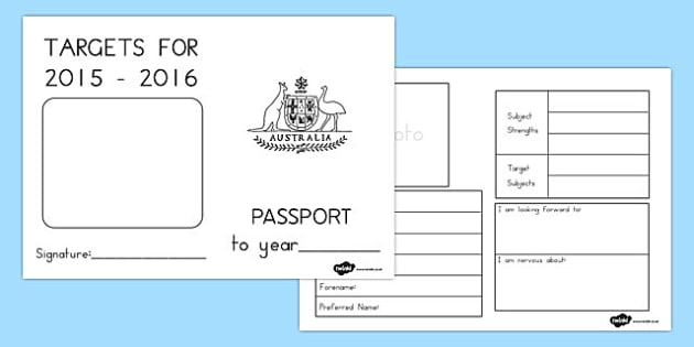 Passport to the Next Year 2015 to 2016 Writing Frames -  Passport, transition, new year, 2015, 2016