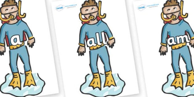 Foundation Stage 2 Keywords on Divers - FS2, CLL, keywords, Communication language and literacy,  Display, Key words, high frequency words, foundation stage literacy, DfES Letters and Sounds, Letters and Sounds, spelling