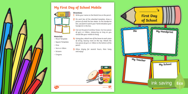 My First Day of School Mobile Craft Instructions