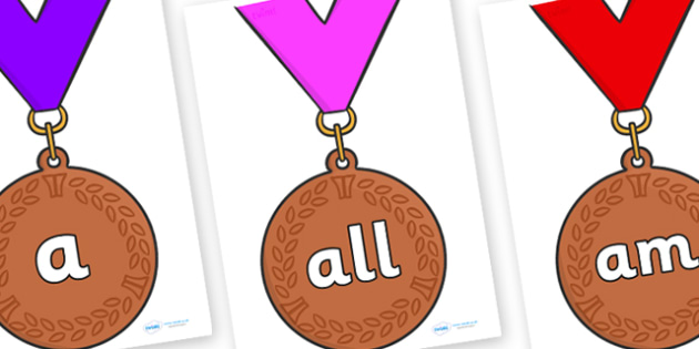 Foundation Stage 2 Keywords on Bronze Medals - FS2, CLL, keywords, Communication language and literacy,  Display, Key words, high frequency words, foundation stage literacy, DfES Letters and Sounds, Letters and Sounds, spelling