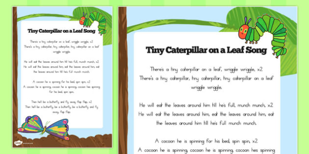 Song Words to Support Teaching on The Very Hungry Caterpillar - australia, caterpillar