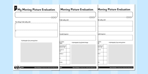 Activity Sheet My Moving Picture Evaluation - activity sheet, moving picture, worksheet