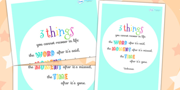 Three Things You Cannot Recover In Life Motivational Poster