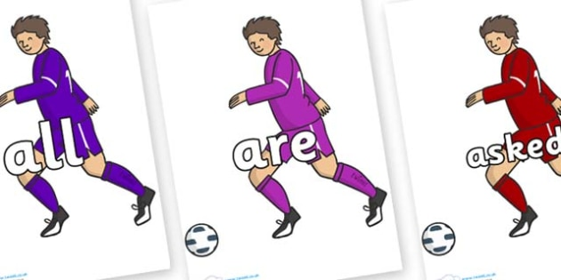 Tricky Words on Football Players - Tricky words, DfES Letters and Sounds, Letters and sounds, display, words