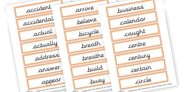 Spelling List Year 3/4 Cards - KS2 Spelling Primary Resources, Spelling, KS2 Spelling, KS2