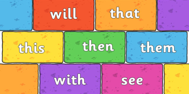 Phase 3 High Frequency Words on Multicoloured Bricks - display